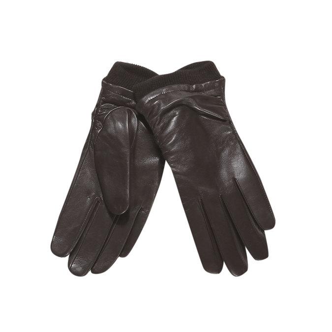 Skórzane damskie rękawiczki bata, brązowy, 904-4107 - 13