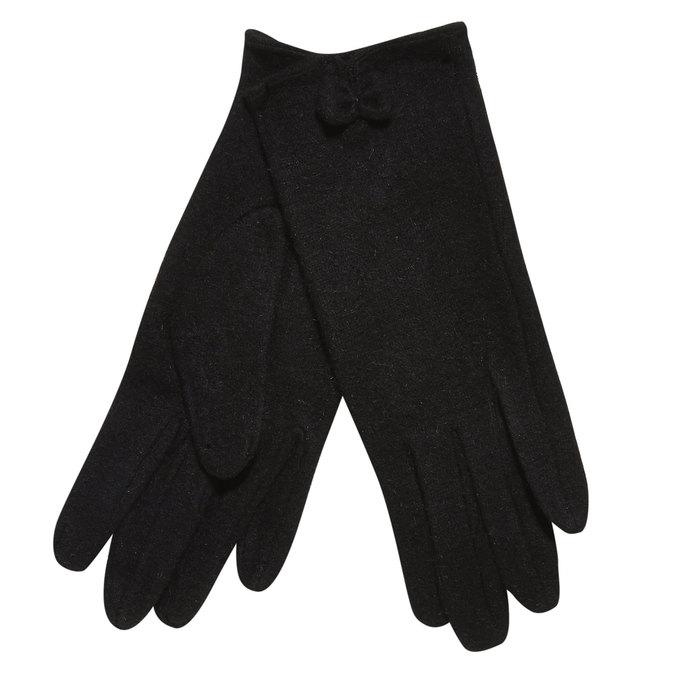 Damskie rękawiczki z kokardką bata, czarny, 909-6404 - 13