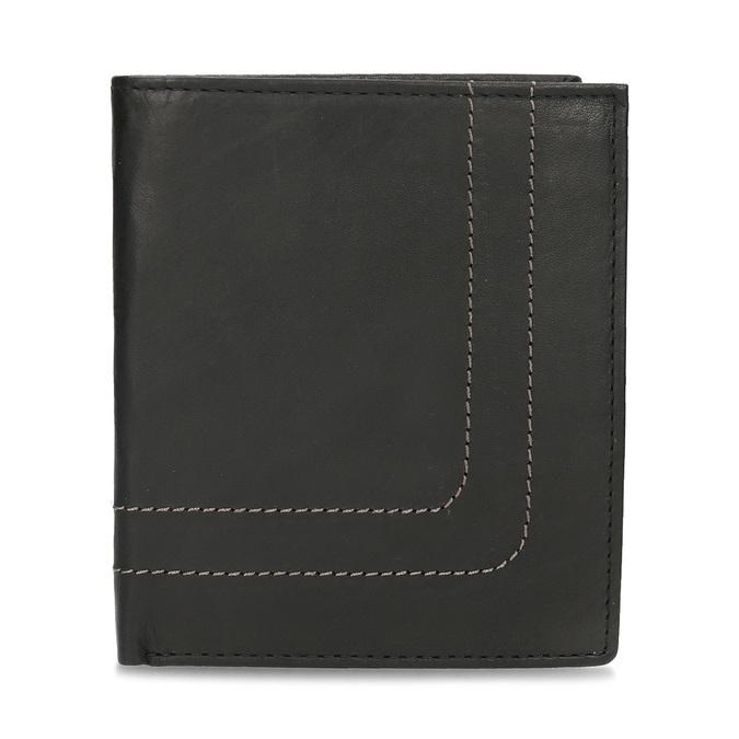 Skórzany portfel z przeszyciami bata, czarny, 944-6148 - 26
