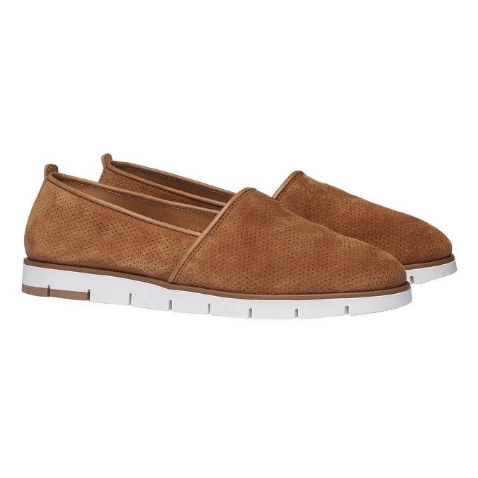 Skórzane buty Slip-on z perforacją flexible, brązowy, 513-3200 - 26
