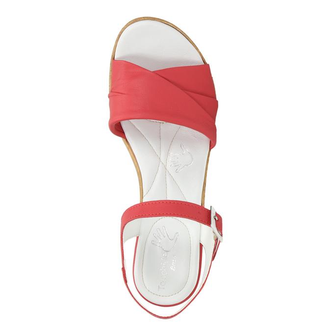 Skórzane sandały na niskim obcasie bata-touch-me, czerwony, 666-5203 - 26