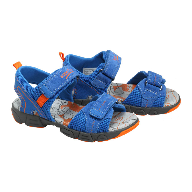 Dziecięce skórzane sandały, niebieski, 369-9100 - 26