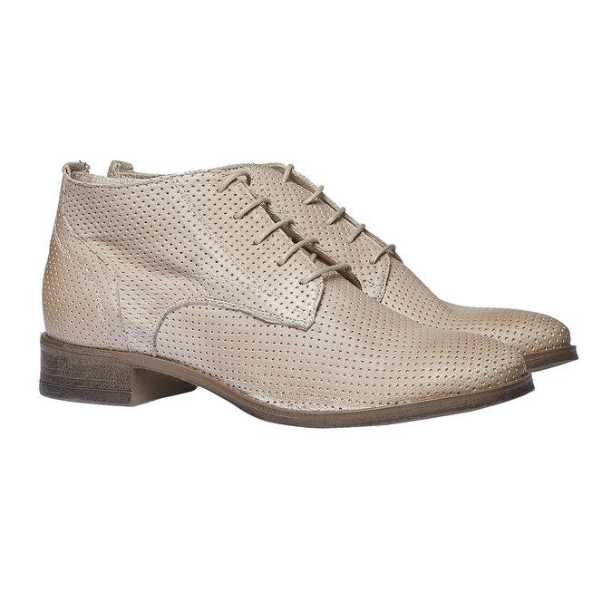 Damskie skórzane botki bata, beżowy, 524-8468 - 26
