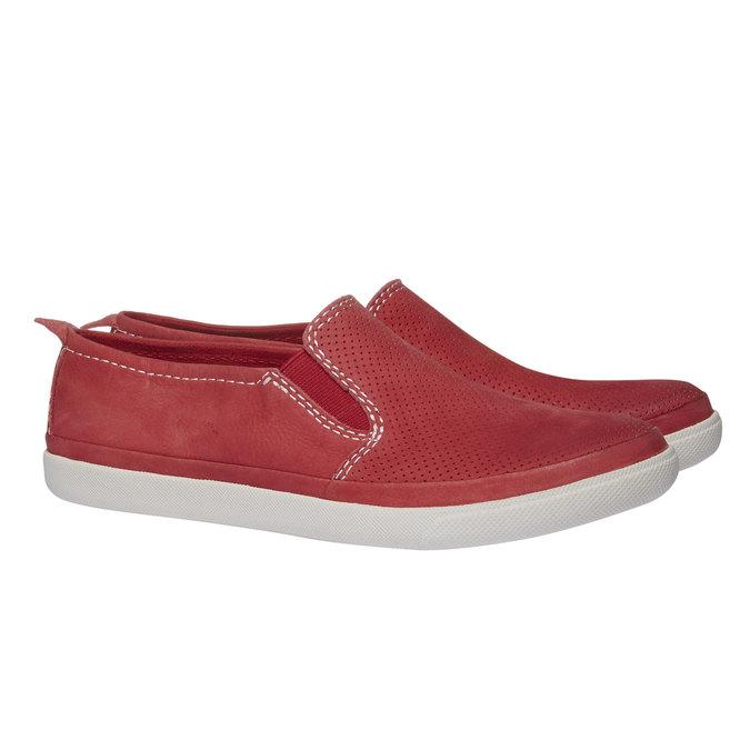 Skórzane buty Plim Soll z perforacją bata, czerwony, 514-5197 - 26
