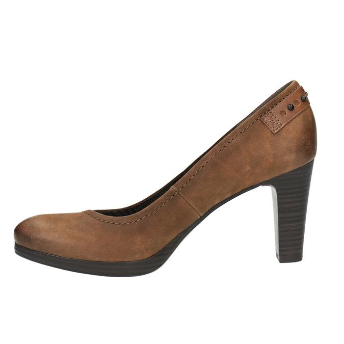 Czółenka damskie na szerszym obcasie bata, brązowy, 626-4602 - 26