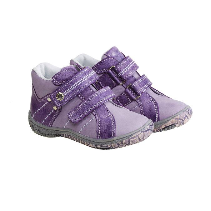 Dziecięce skórzane buty do kostki mini-b, fioletowy, 126-9100 - 26