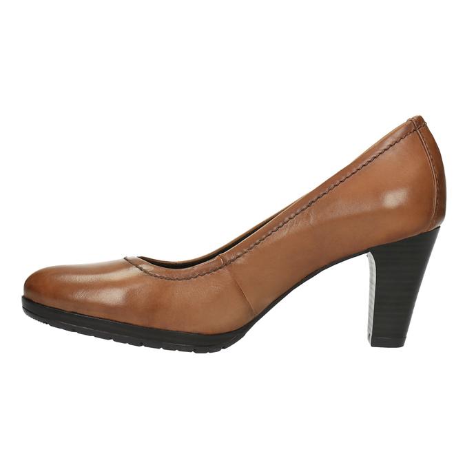 Czółenka damskie na szerokim obcasie bata, brązowy, 726-3604 - 26