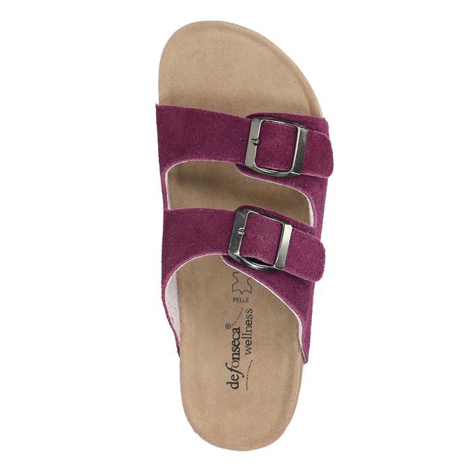 Damskie skórzane pantofle de-fonseca, fioletowy, 573-5620 - 19