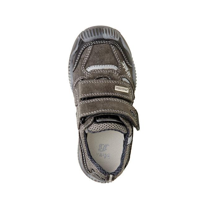 Dziecięce skórzane buty sportowe na rzepy mini-b, szary, 213-2130 - 19