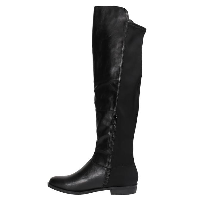Kozaki damskie za kolana bata, czarny, 591-6604 - 19