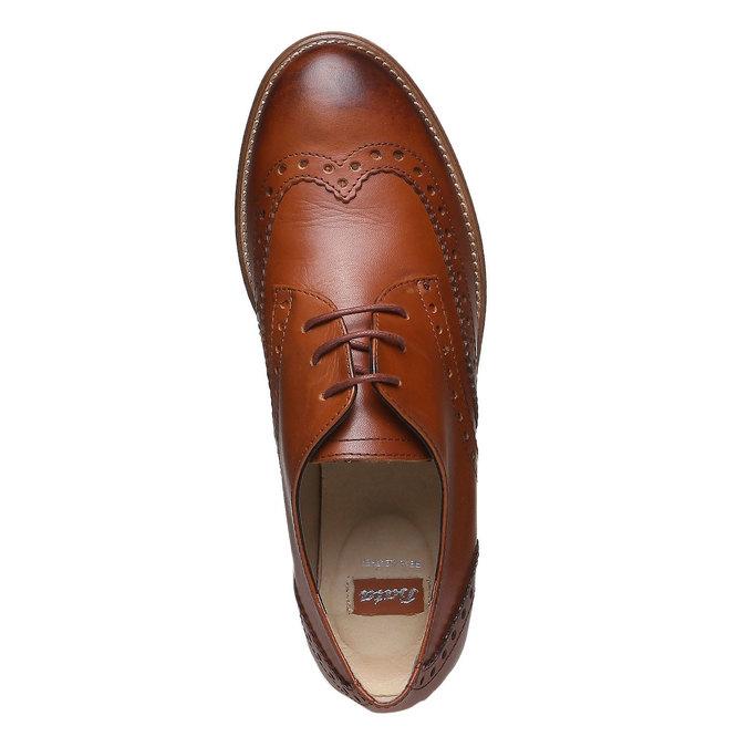 Damskie skórzane półbuty ze zdobieniem bata, brązowy, 524-3488 - 19