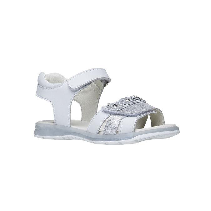 Białe skórzane sandały mini-b, biały, 264-1163 - 13
