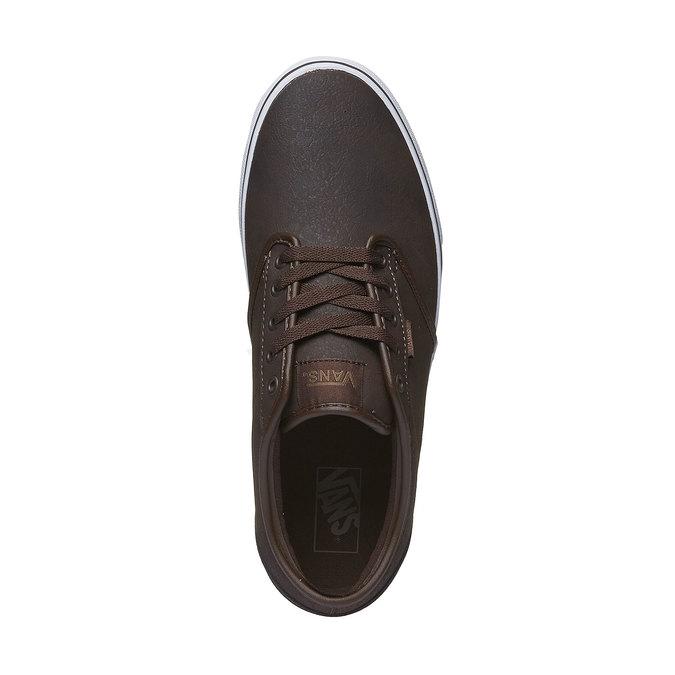 Męskie buty sportowe z białą podeszwą vans, brązowy, 801-4300 - 19