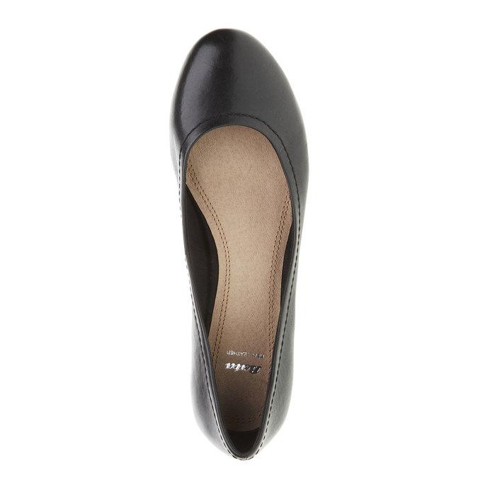 Czarne skórzane czółenka bata, czarny, 624-6390 - 19