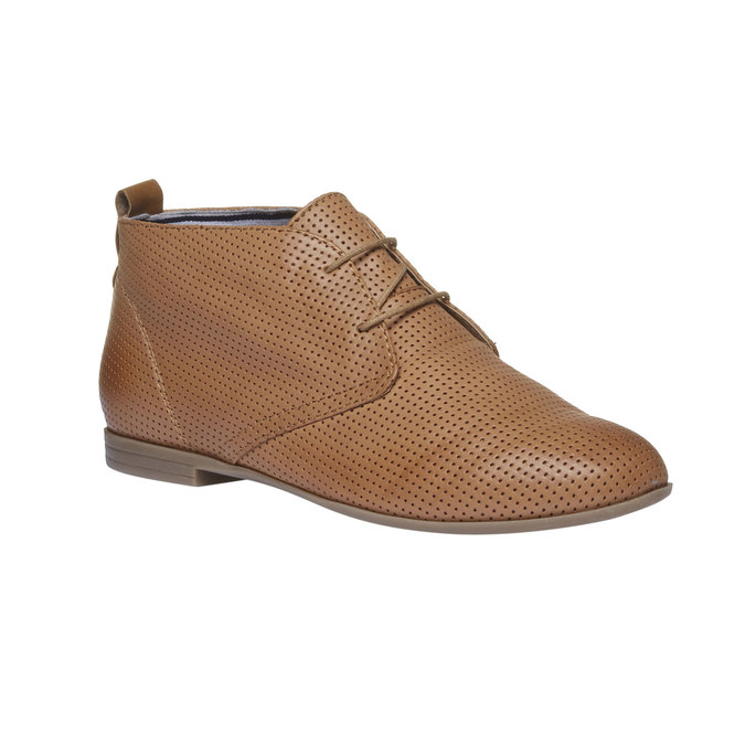 Skórzane botki z perforacją bata, brązowy, 526-3495 - 13