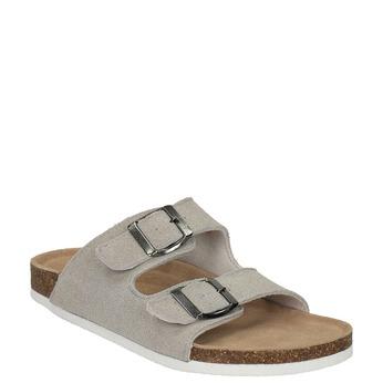 Damskie skórzane pantofle de-fonseca, beżowy, 573-8620 - 13
