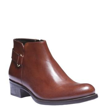 Skórzane botki z paskiem bata, brązowy, 694-3159 - 13