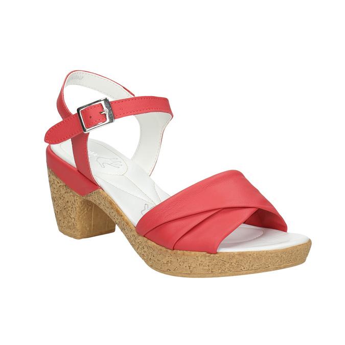 Skórzane sandały na niskim obcasie bata-touch-me, czerwony, 666-5203 - 13
