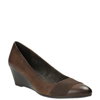 Skórzane czółenka na koturnie bata, brązowy, 626-4603 - 13
