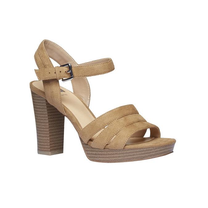 Damskie sandały na masywnym obcasie bata, brązowy, 769-8484 - 13