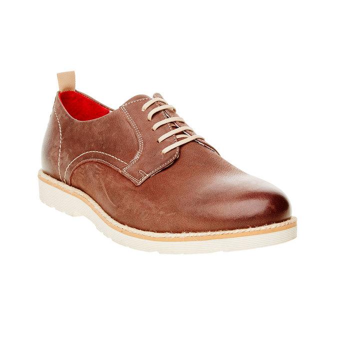 Skórzane półbuty z wyrazistą podeszwą bata, brązowy, 824-4694 - 13
