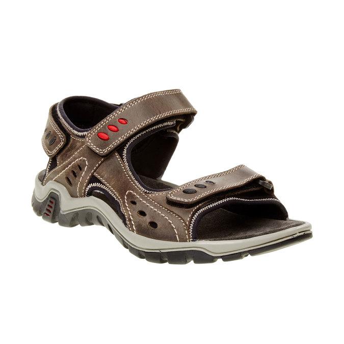 Męskie skórzane sandały weinbrenner, brązowy, 866-2105 - 13