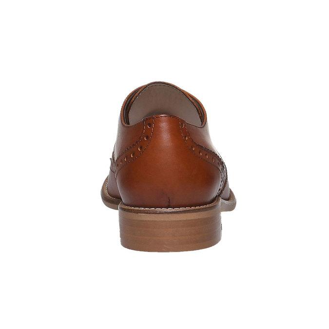 Damskie skórzane półbuty ze zdobieniem bata, brązowy, 524-3488 - 17