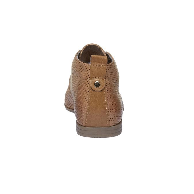 Skórzane botki z perforacją bata, brązowy, 526-3495 - 17
