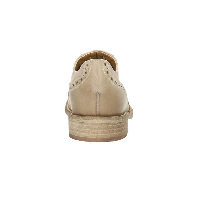 Damskie skórzane półbuty ze zdobieniem bata, beżowy, 524-8482 - 17