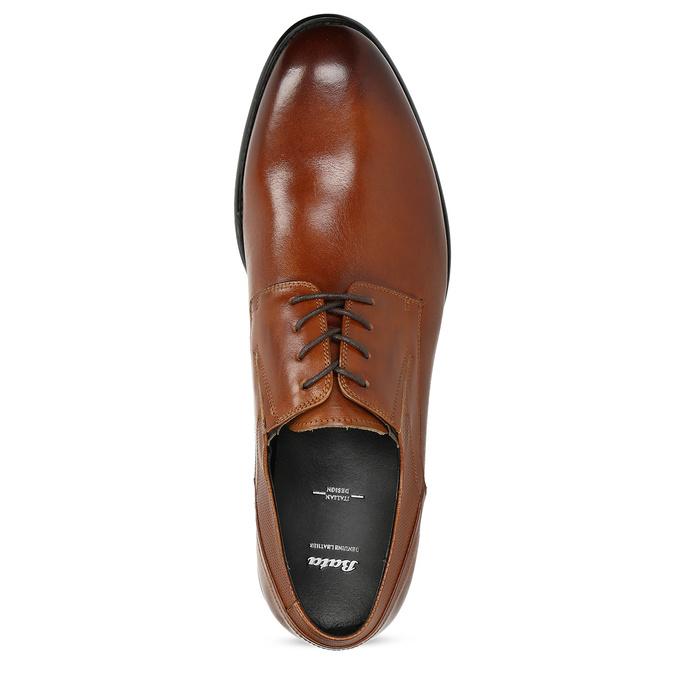 Męskie skórzane półbuty bata, brązowy, 824-4722 - 17