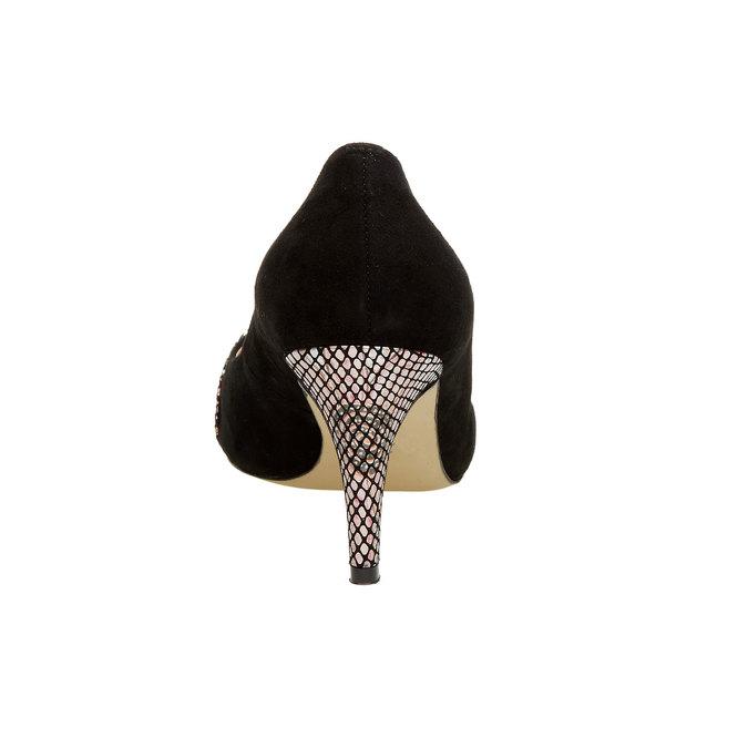 Skórzane czółenka z ozdobną aplikacją bata, czarny, 723-6104 - 17