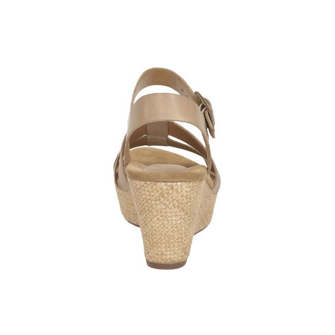 Skórzane sandały na platformie clarks, beżowy, 764-8002 - 17
