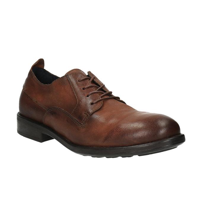 Skórzane półbuty męskie onieformalnym stylu bata, brązowy, 826-4732 - 13