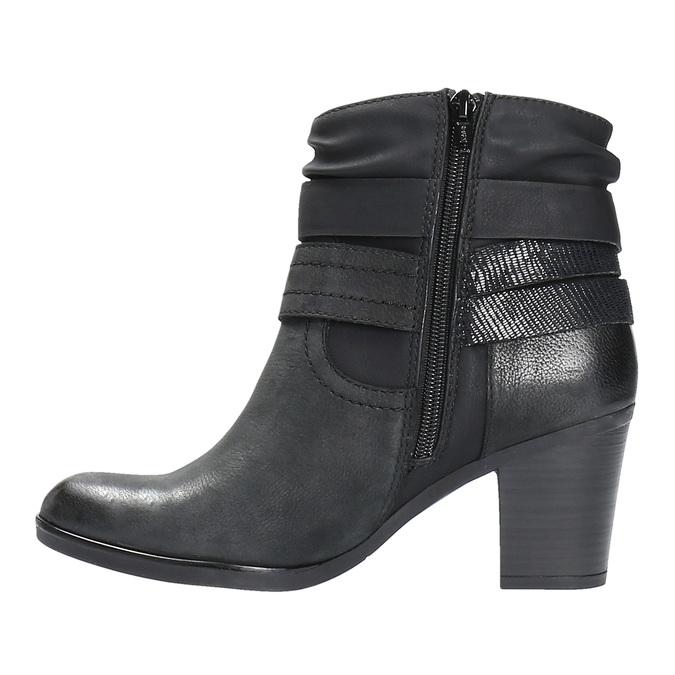 Skórzane botki kowbojki bata, czarny, 696-6610 - 26
