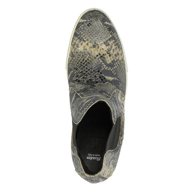 Skórzane botki na szerokiej podeszwie bata, szary, 596-2626 - 19