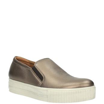 Skórzane buty Slip-on na szerokiej podeszwie bata, brązowy, 526-4605 - 13