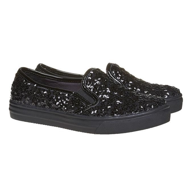 Dziecięce buty Slip-on z cekinami mini-b, czarny, 329-6229 - 26