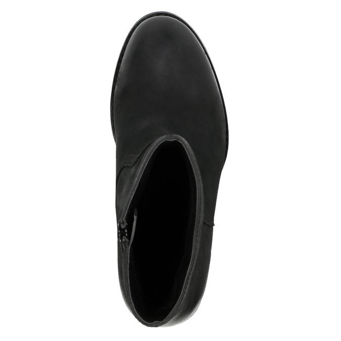 Botki ze skóry na szerokim obcasie bata, czarny, 696-6612 - 19