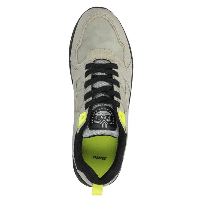 Trampki męskie zkontrastową podeszwą bata, szary, 841-2600 - 19