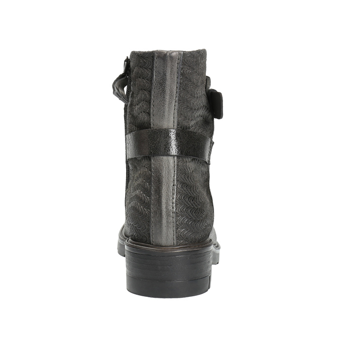 Skórzane botki z metalicznymi elementami bata, szary, 596-2619 - 17