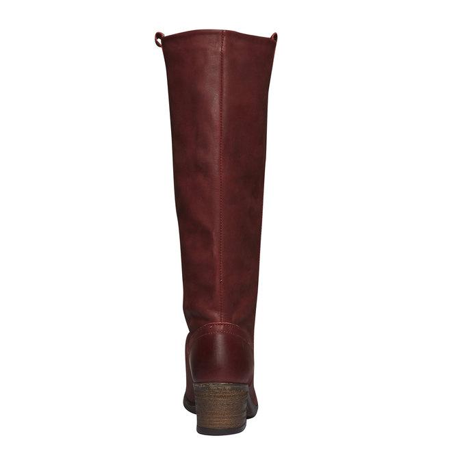 Skórzane kozaki bez zamka bata, czerwony, 596-5106 - 17