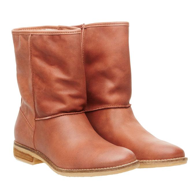 Skórzane botki bata, brązowy, 596-4105 - 26