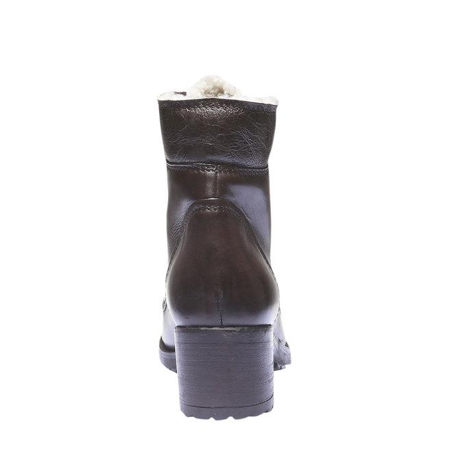 Skórzane sznurowane buty z ociepliną bata, brązowy, 694-4100 - 17