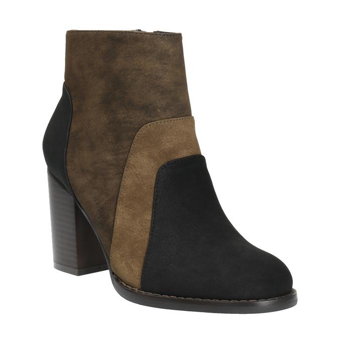 Skórzane botki na szerokim obcasie bata, brązowy, 799-3612 - 13