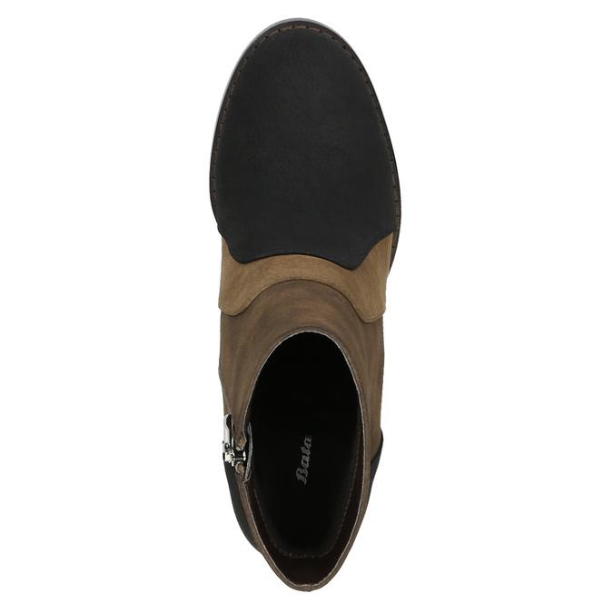Skórzane botki na szerokim obcasie bata, brązowy, 799-3612 - 19