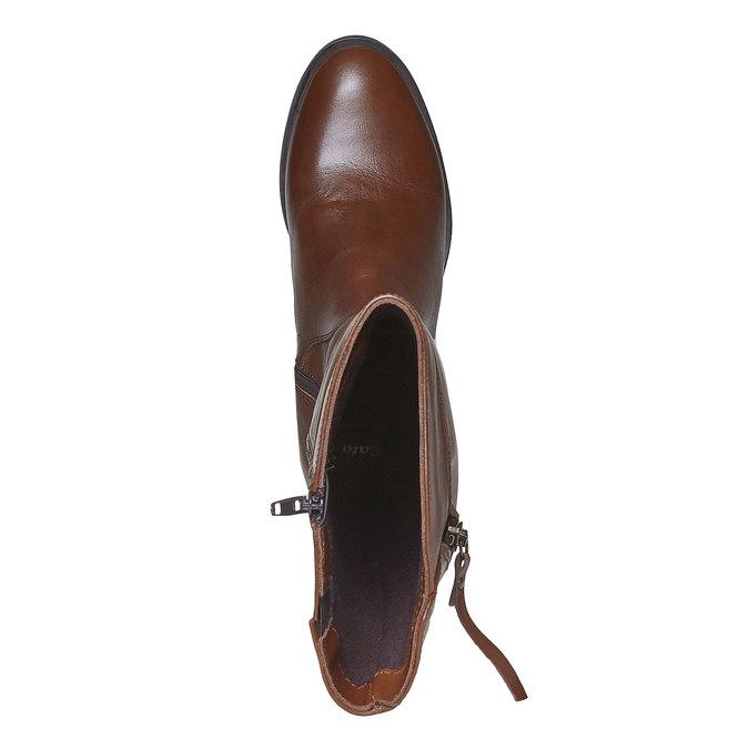 Damskie skórzane kozaki bata, brązowy, 694-4114 - 19