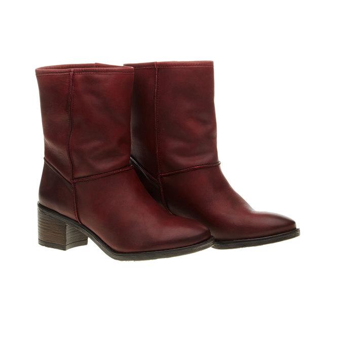 Skórzane botki bata, czerwony, 696-5109 - 26
