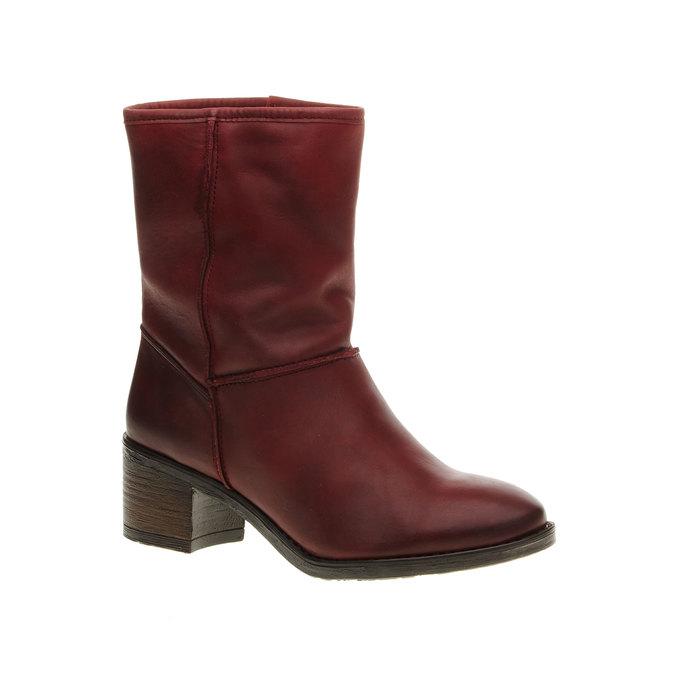 Skórzane botki bata, czerwony, 696-5109 - 13