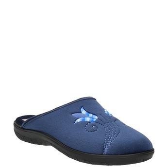 Kapcie damskie zhaftem bata, niebieski, 579-9603 - 13