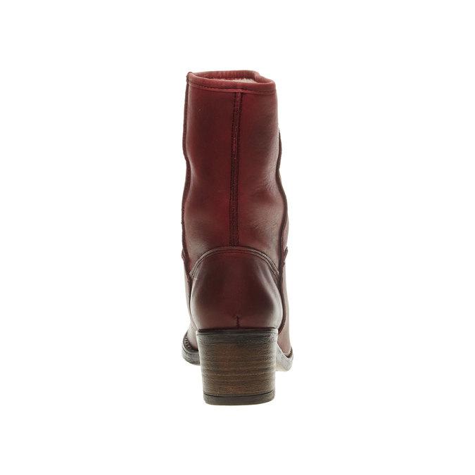 Skórzane botki bata, czerwony, 696-5109 - 17